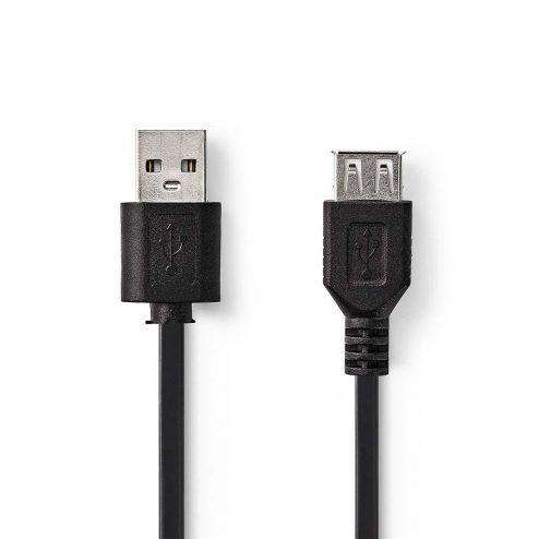 Kabel USB 2.0 | A male - USB A female | 3,0 m | Zwart