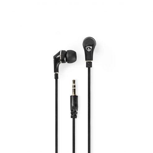 Bedrade Koptelefoon | 1,2 m Platte Kabel | In-Ear Oordopjes | Zwart