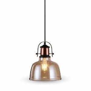 Hanglamp glas light amber met E27 fitting