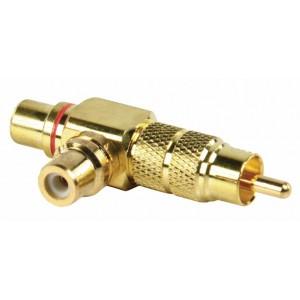 Adapter plug RCA stekker - 2x RCA kontra stekker met vergulde kontakten (rood)